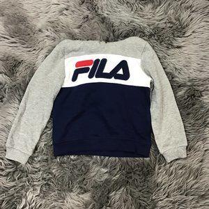 Fila   Boy's Hoodie   Grey   Blue   White   Size 7
